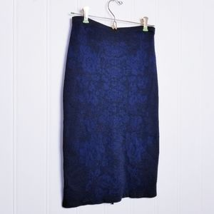 BR Floral Jacquar Preppy Navy Knit Pencil Skirt